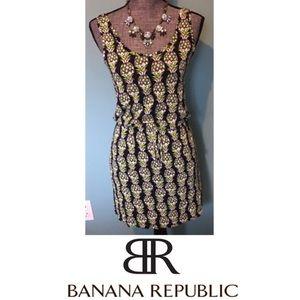 Banana Republic Pineapple Dress Tie Elastic waist